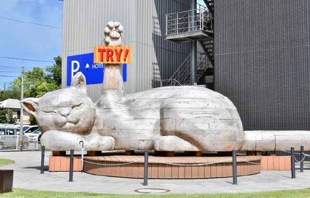 ラグビーワールドカップ2019 シティドレッシング 巨大寝ころび招き猫・福猫ふくにゃん